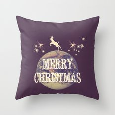 Fly Me To The Moon Merry Christmas Design Throw Pillow