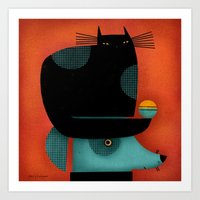 BLACK CAT ON HEAD Art Print