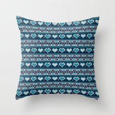 Blue Hearts Winter Knitt… Throw Pillow