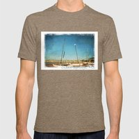 Sail Boats on the Beach Mens Fitted Tee Tri-Coffee SMALL
