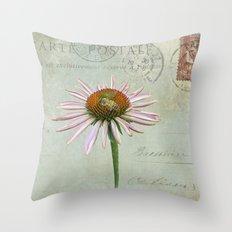 coneflower & bee postale Throw Pillow