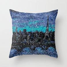 Eiffel Tower, Paris, Mosaic Night Throw Pillow