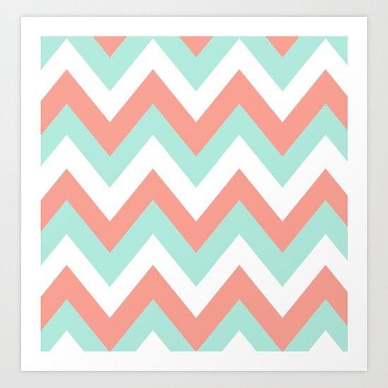 Mint Amp Coral Chevron Art Print By Natalie Sales Society6