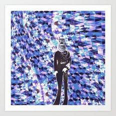 General Gears on blue Art Print