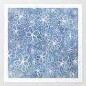 Doodle Flowers Blue Art Print