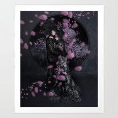 Bakeneko and Kitsune under the Sakura Tree Art Print