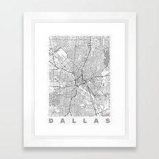 Dallas Map Line Framed Art Print