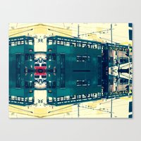 Tramway collage cityscape in Hong Kong Canvas Print