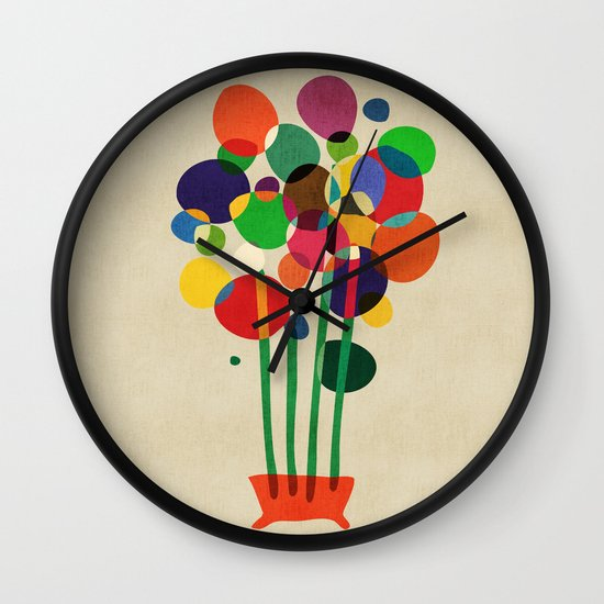 Happy flowers in the vase Wall Clock