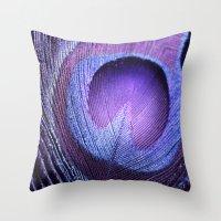 PURPLE PEACOCK Throw Pillow