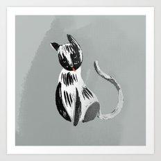Halftone Kitty black and grey Art Print