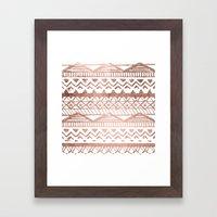 Faux rose gold handdrawn trendy tribal aztec pattern Framed Art Print