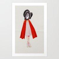Miss Red riding hood Art Print