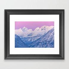 Pink Sunset Mountains Framed Art Print