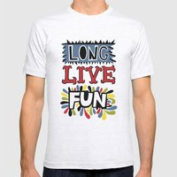 Long Live Fun Mens Fitted Tee Ash Grey SMALL