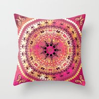 Raspberry Mandala Throw Pillow