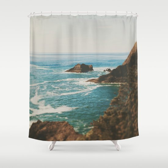 Oregon Coast shower curtain by Leah Flores at Society6