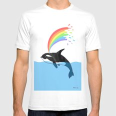 Killer Whale Blows Rainbow SMALL White Mens Fitted Tee