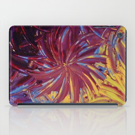 NIGHT FLOWERS 2 - Lovely Relaxing Modern Floral Abstract Acrylic Mauve Purple Plum Eggplant Painting iPad Case