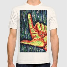 Pointing hand Mens Fitted Tee Natural SMALL
