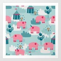 Pink Elephant Circus Art Print