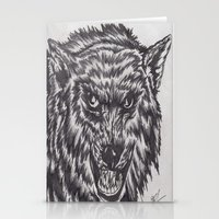 Angry wolf Stationery Cards