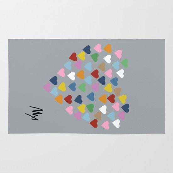 Hearts Heart Multi Grey Area & Throw Rug