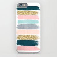iPhone Cases featuring Zara - Brushstroke glitter trendy girly art print and phone case for young trendy girls by CharlotteWinter