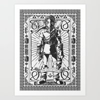 Legend of Zelda - Epic Link Vintage Geek Line Artly Art Print