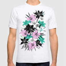 Tropical Floral SMALL Mens Fitted Tee Ash Grey
