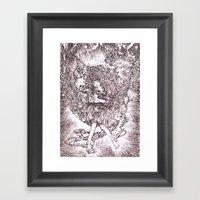 Girl And Her Cat Framed Art Print