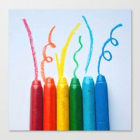 Six Colorful Crayons And… Canvas Print