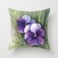 Purple Pansies Watercolor   Flower Painting   Violet Floral Art Throw Pillow