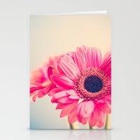 This Tornado Loves You, Pink Flower on Blue  Stationery Cards