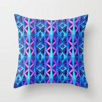 Blue/Purple Metallic Pattern Throw Pillow