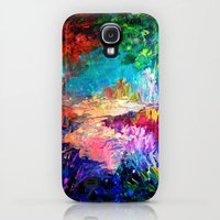 Galaxy S4 Cases featuring WELCOME TO UTOPIA Bold Rainbow Multicolor Abstract Painting Forest Nature Whimsical Fantasy Fine Art by EbiEmporium