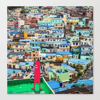 NUM NUM on Colourful house  Canvas Print