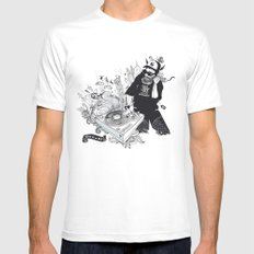 GOD IS A DJ White SMALL Mens Fitted Tee