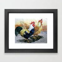 Rooster And Hen Framed Art Print