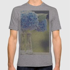 Blue Hydrangea Mens Fitted Tee Athletic Grey SMALL