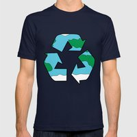 Recycle Mens Fitted Tee Navy SMALL
