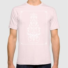 La Vie + La Mort: White Ink Mens Fitted Tee Light Pink SMALL