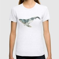 Humpback Whale Womens Fitted Tee Ash Grey SMALL