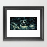 Godzilla Vs Kingkong Blu… Framed Art Print