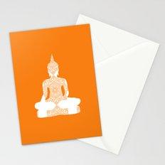 Yoga Art Buddha silhouette in orange Stationery Cards