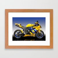 Yamaha R1 Yellow Framed Art Print