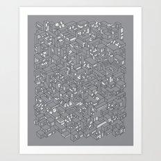 City Grid Night Print Art Print
