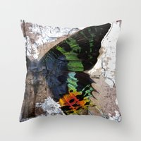 Sunset Moth Wing Abstrac… Throw Pillow