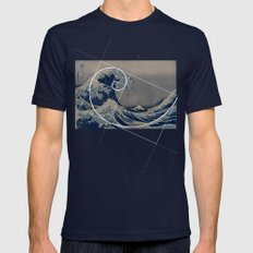 Hokusai Meets Fibonacci Mens Fitted Tee Navy SMALL