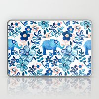 Blush Pink, White and Blue Elephant and Floral Watercolor Pattern Laptop & iPad Skin